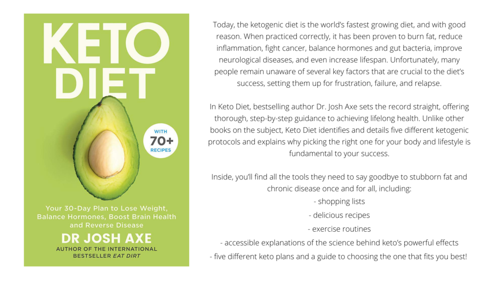 """Cover and Blurb of """"Keto Diet: Your 30-Day Plan to Lose weight, Balance Hormones, Boost Brain Health, and Reverse Disease by Dr Josh Axe"""""""