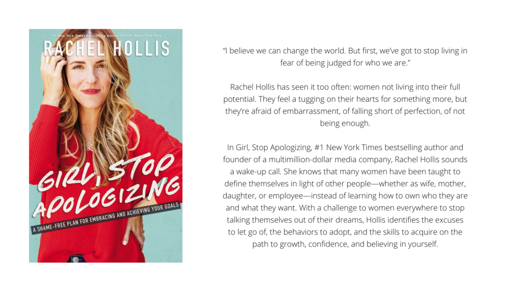 """Cover and Blurb of """"Girl, Stop Apologizing: A Shame-Free Plan for Embracing and Achieving Your Goals by Rachel Hollis"""""""