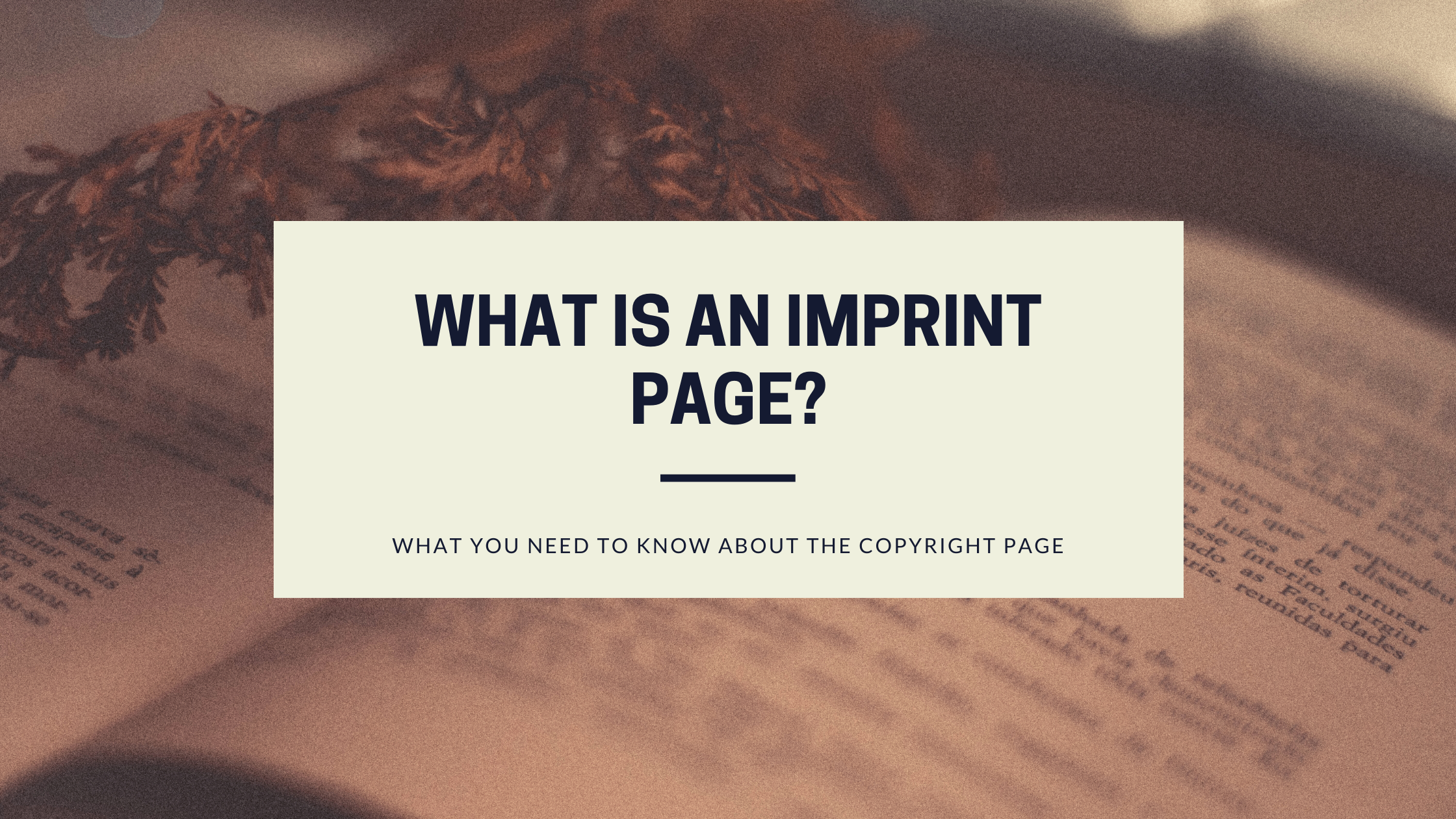 What is an imprint page?